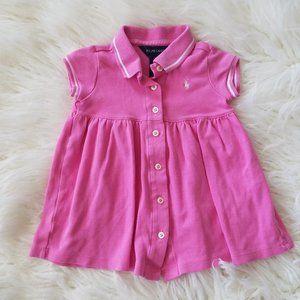 Ralph Lauren Baby Girl Pink Button Collared Dress